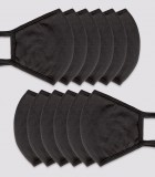 Bulk Wholesale 12-pack Black Face Masks (With Nose Wire)
