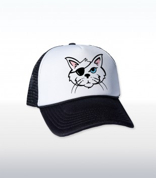 One Eyed Cat Trucker Cap