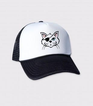One Eyed Cat Trucker Cap