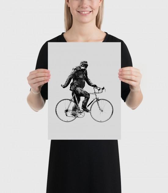 Sasquatch Cyclist Poster