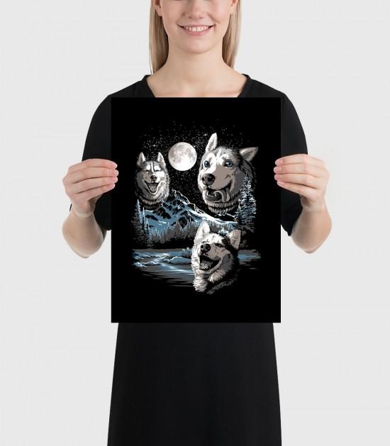 Three Derp Huskies Poster