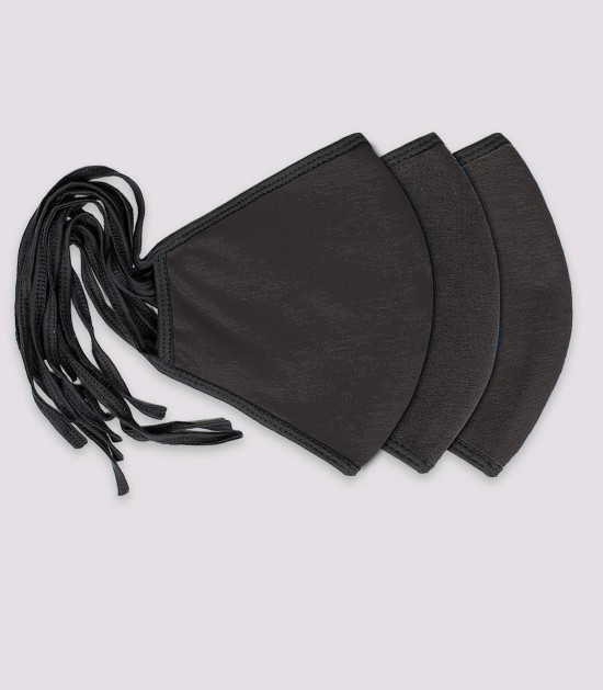 """'XXL """"Beard Mask"""" (With Nose Wire) Black 3-Pack"""