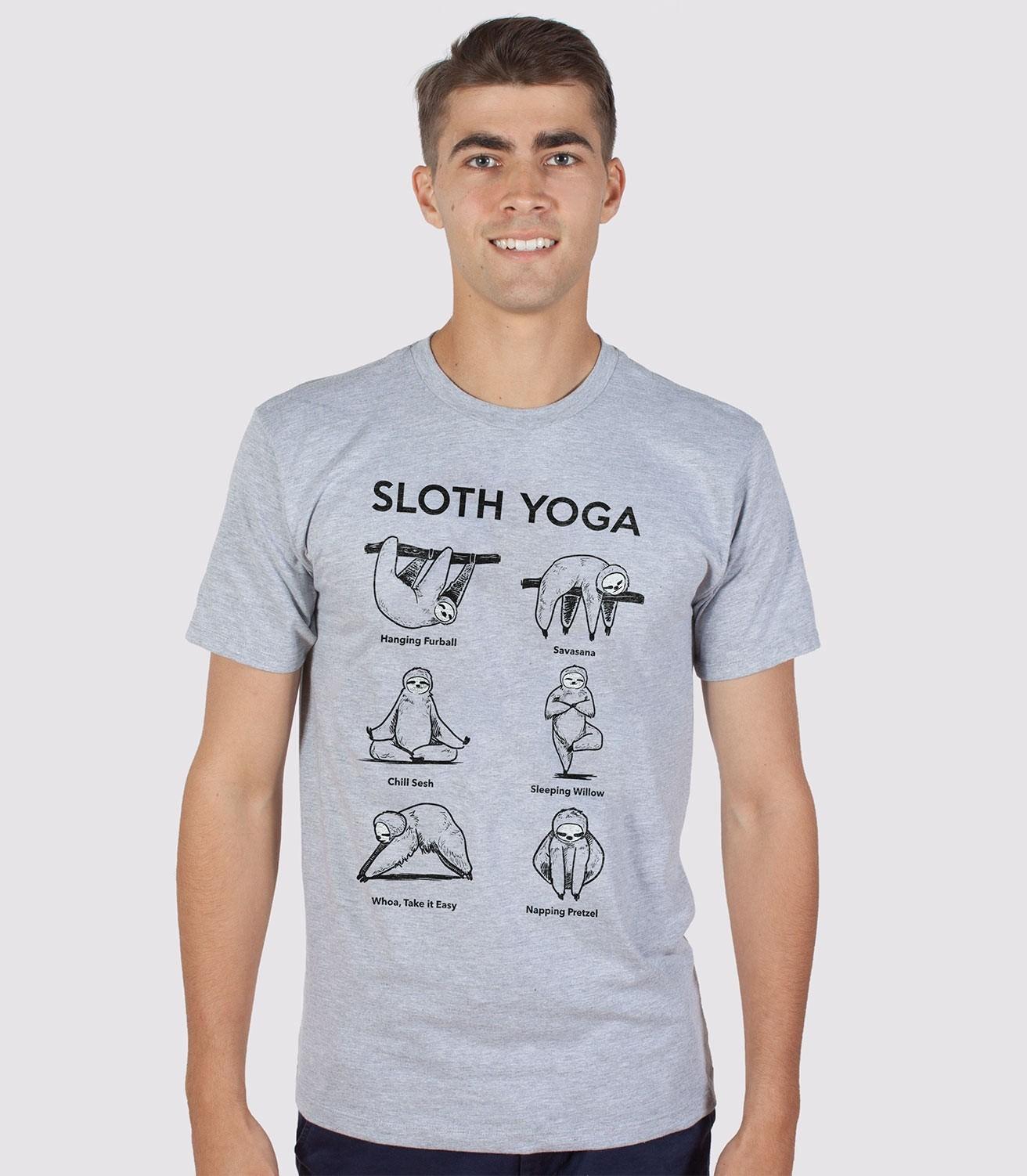 Sloth Yoga Funny Men s Cotton Poly T-Shirt  6d130629fd4