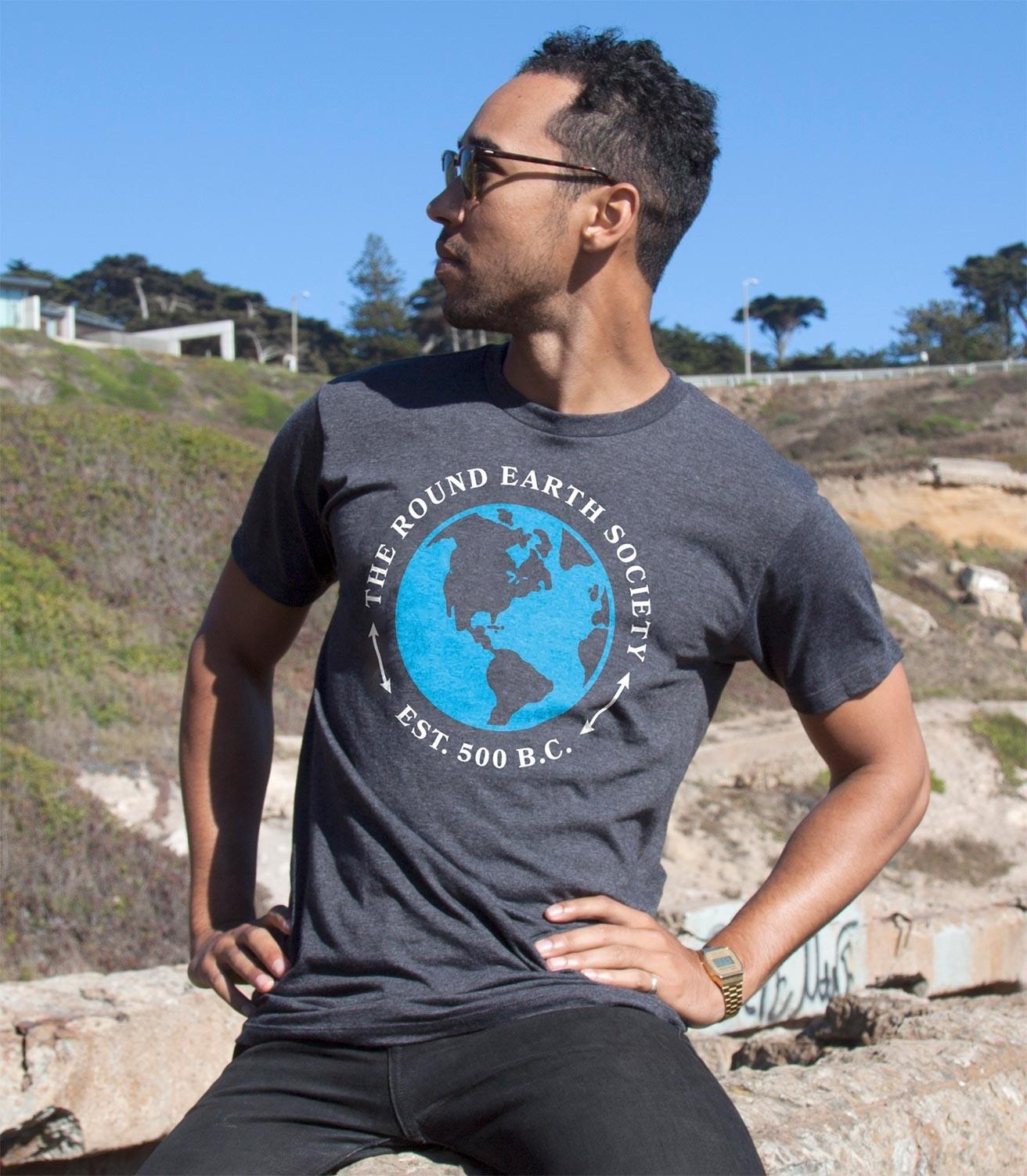 7b3cb564 Round Earth Society Funny Men's Cotton/Poly T-Shirt   Headline Shirts