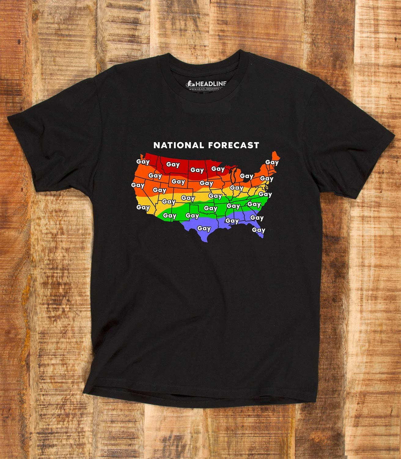 ab84c774 Gay Weather Forecast Funny Men's 100% Cotton T-Shirt | Headline Shirts