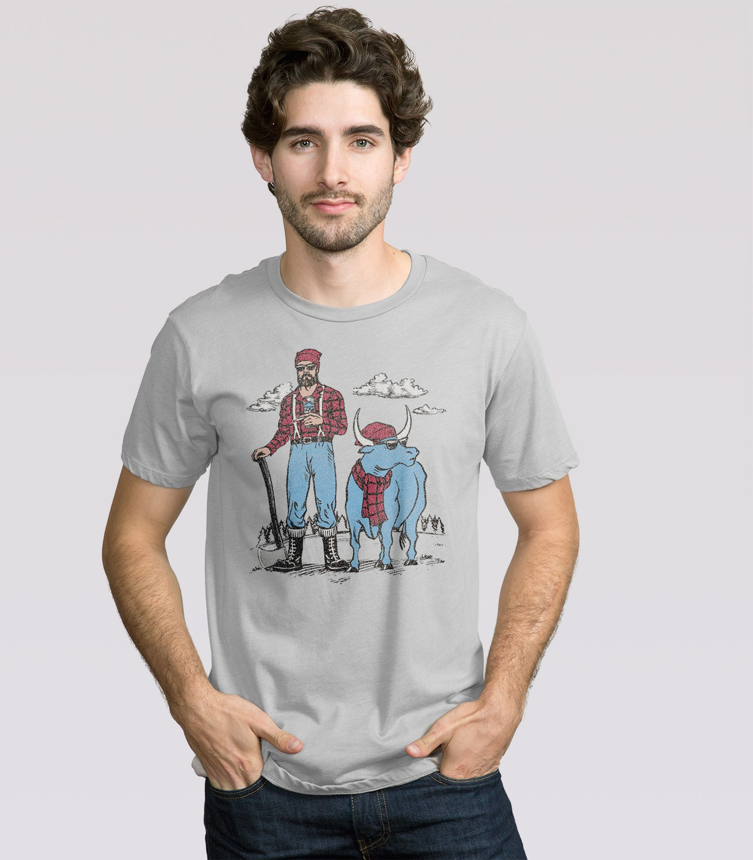 hipster paul bunyan t shirt headline shirts. Black Bedroom Furniture Sets. Home Design Ideas