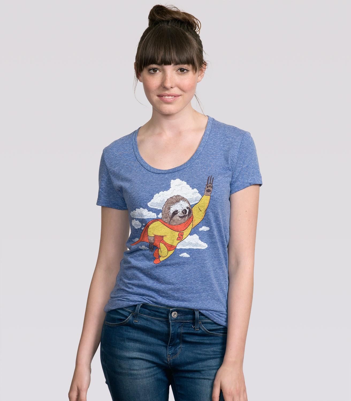 Super Sloth Women's Funny T-Shirt   Headline Shirts