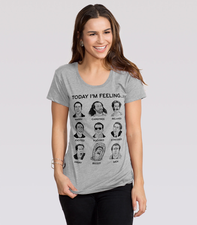 Fresh Nicolas Cage Mood Board Women's Funny Movie T-Shirt | Headline Shirts SB14