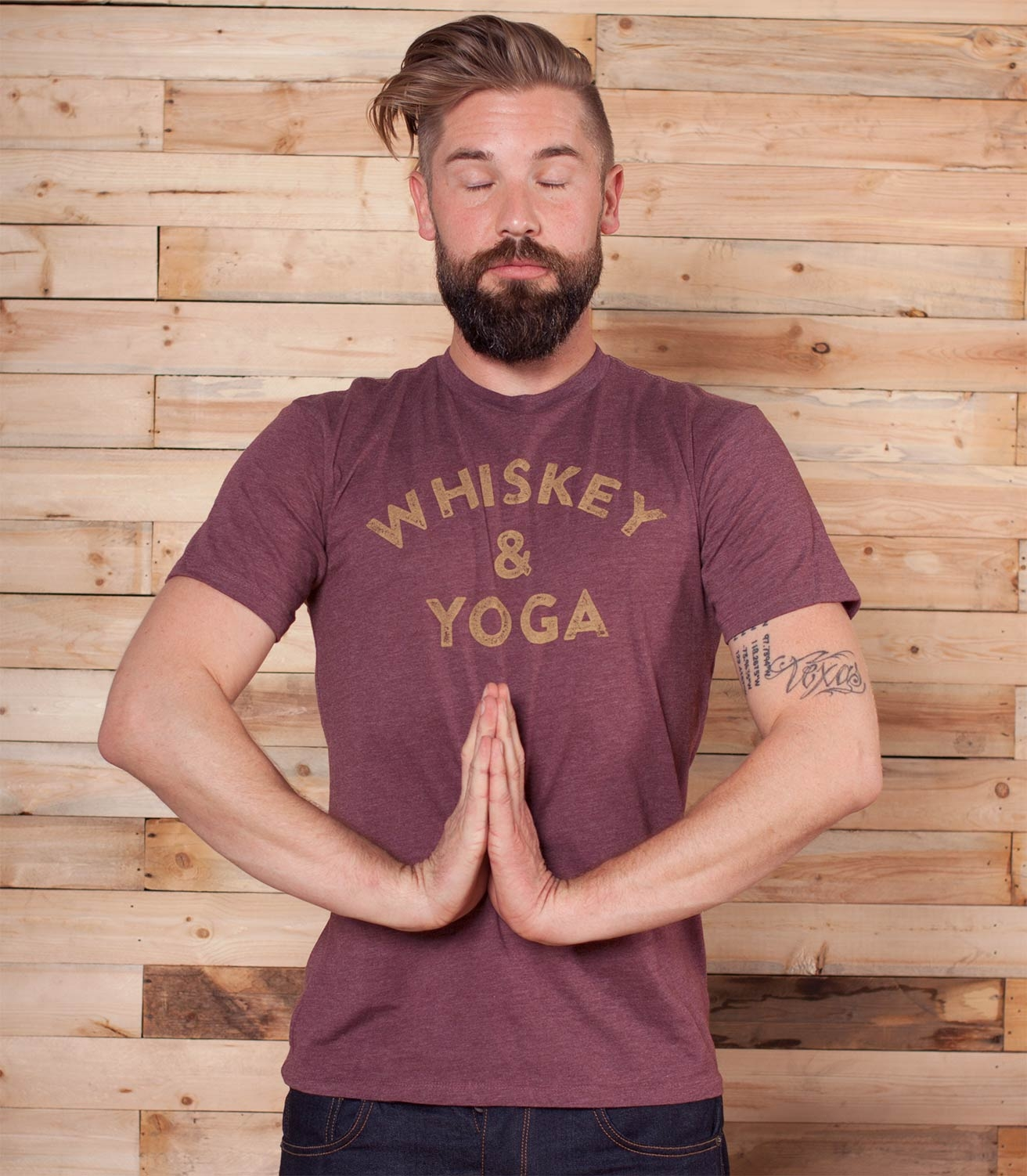 92271c288 Whiskey & Yoga Men's Funny Drinking T-Shirt | Headline Shirts